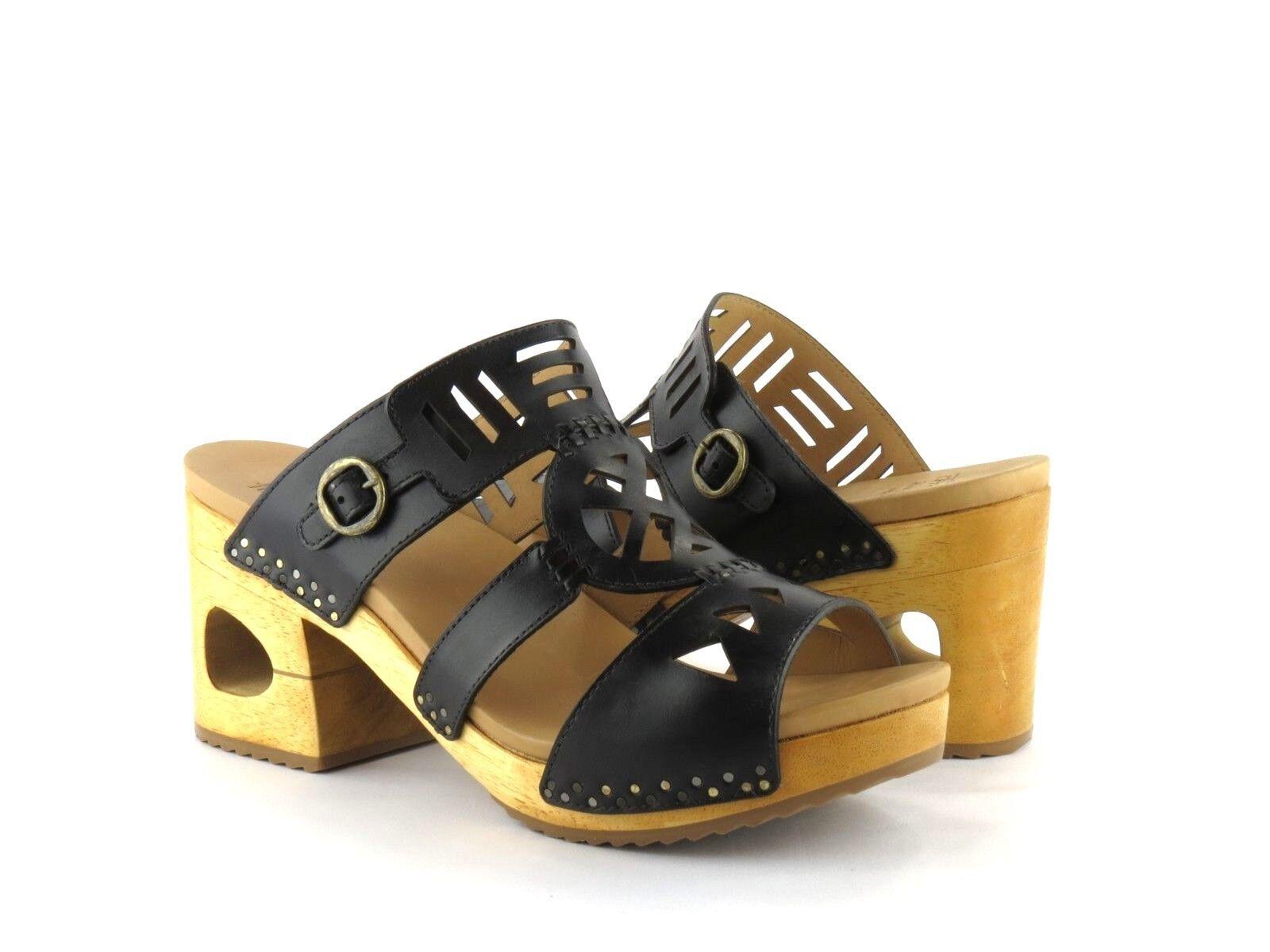 Dansko Oralee nero nero nero Waxy Full Grain Leather Cutout Peep Toe Block Heel Sandal 40 e5e43b