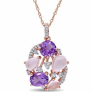 Amour Rose Plated Silver Amethyst Rose Quartz and White Topaz Openwork Necklace
