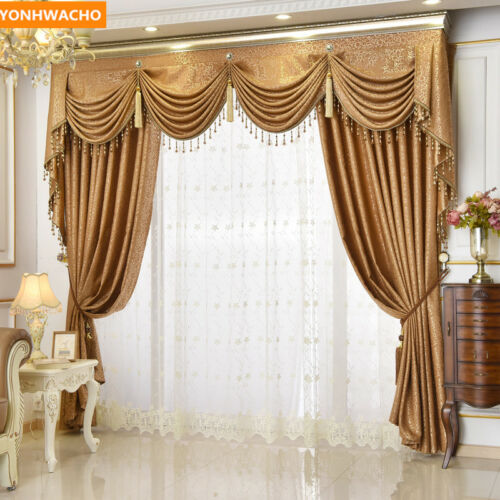 European luxury upscale room brown cloth blackout curtain tulle valance N860