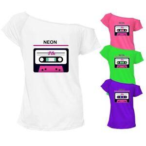 Femmes Fluo Festival 80 S T Shirt Top Off épaule Rétro Tenue De Fête 6995 Lot-afficher Le Titre D'origine Promouvoir La Production De Fluide Corporel Et De Salive