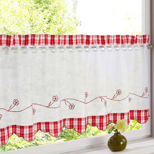 Country Embroidered Kitchen Cafe Curtain Window Sheer Voile Short Panel Valance