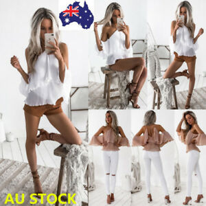 Women-Off-Shoulder-Backless-Halter-Shirt-Ruffle-Frill-Flared-Sleeve-Sling-Tops