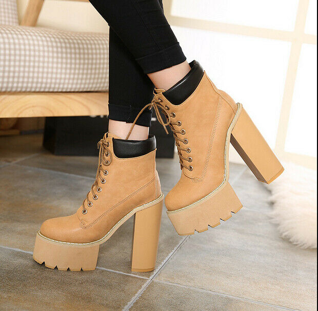 Womens pu lace up chunky high heel ankle boots platform motorcycle shoes new