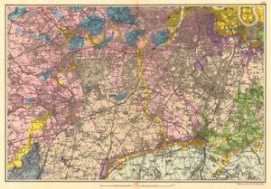 South West London Map.Details About Sw London Geological K C Fulham Surrey Richmond Wandsworth C Bacon 1903 Map