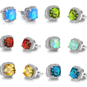 Factory-6-Pcs-Lot-Square-Opal-Citrine-Peridot-Garnet-Gems-Silver-Stud-Earrings