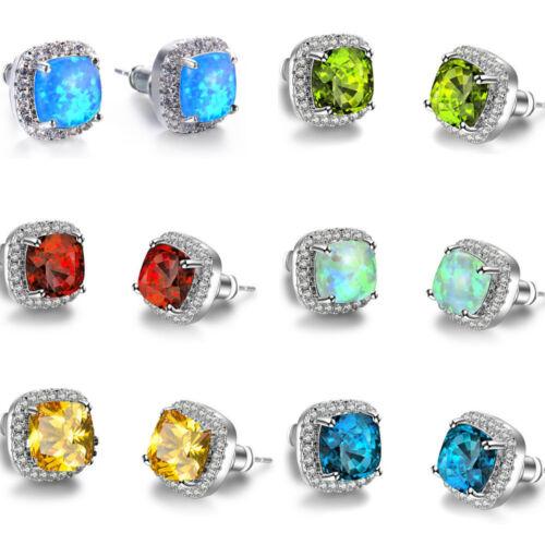 6 MM Square Cut Green Fire Opal Cubic Zirconia Gems Woman Stud Hook Earrings