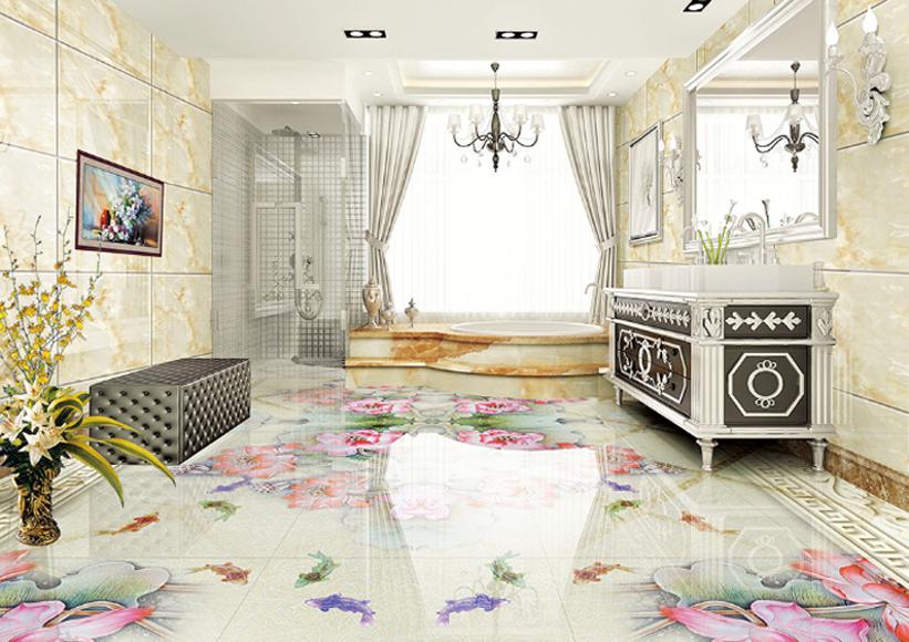 3D Fashion Lotus Style 7 Floor WallPaper Murals Wall Print Decal AJ WALLPAPER US