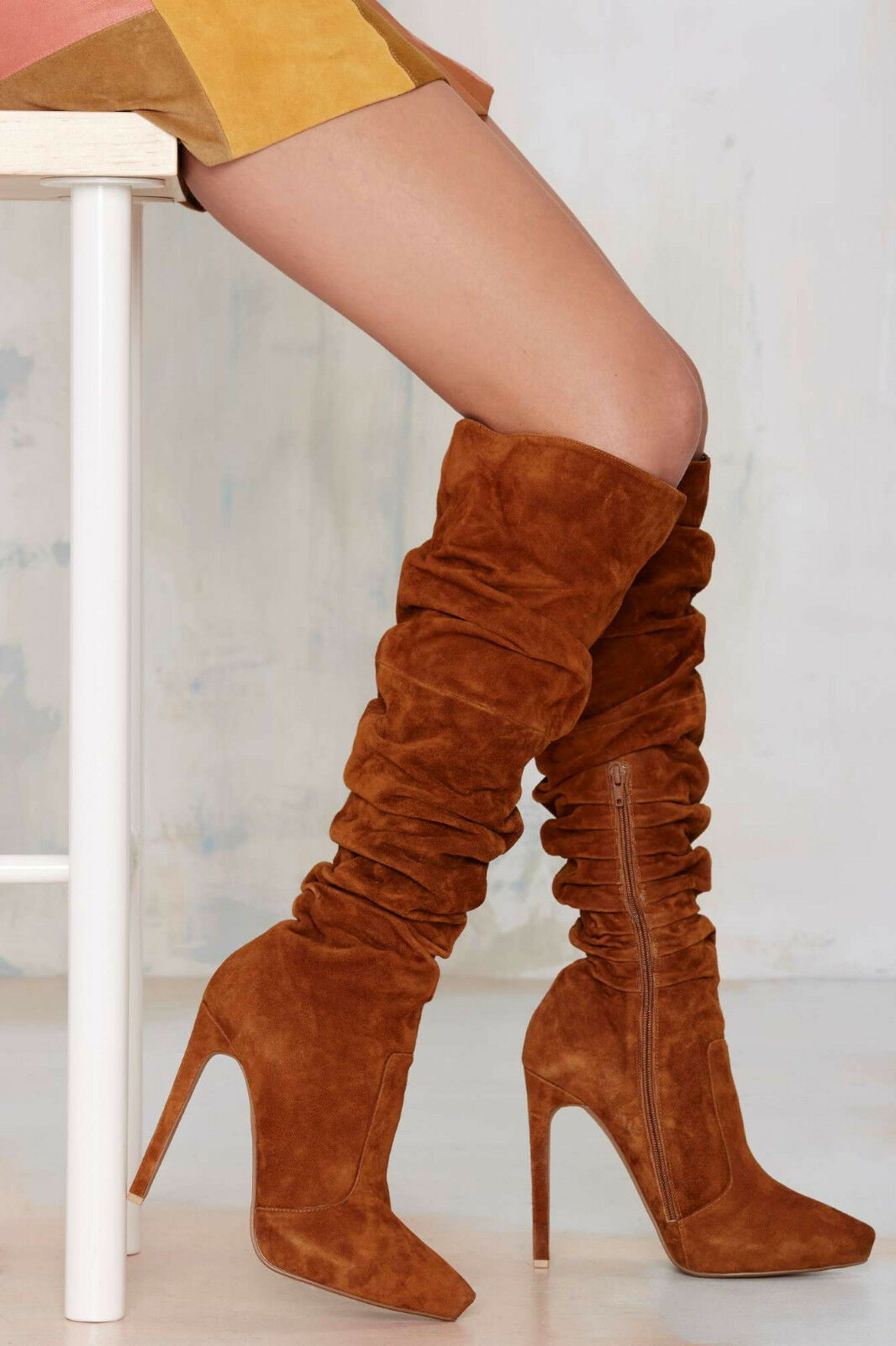 New  JEFFREY CAMPBELL  290 TAN CHESTNUT ALAMODE SUEDE avvio SHES SZ 6.5  all'ingrosso a buon mercato