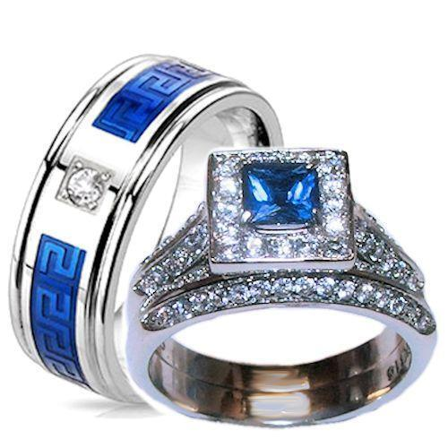 His and Hers Weddings Ring Halo Sapphire Blue Clear Cz Ring Set Stainless Steel