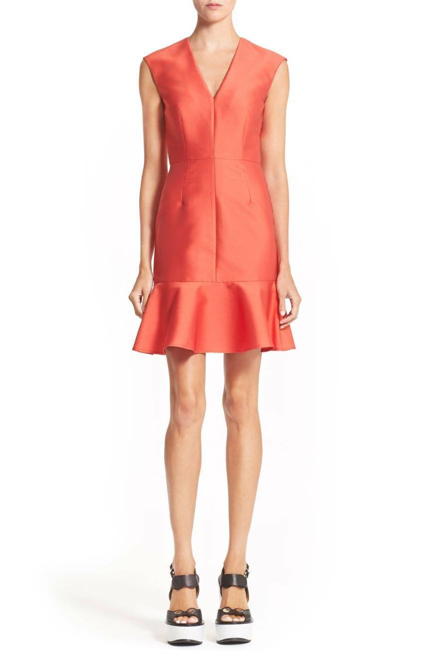 CARVEN Sleeveless Flare Hem Dress Orange rot NWT  FR 40 US 8