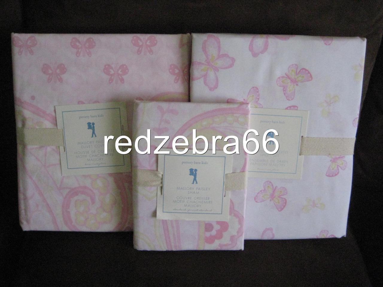 Pottery Barn Kids Mallory Twin Duvet Sham Sheet Set 5-pc Butterfly Paisley rose