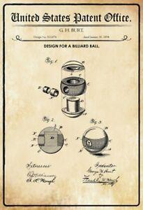 Ee-uu-Patent-Billar-Bola-1894-Letrero-de-Metal-Arqueado-Tin-Sign-20-X-30Cm
