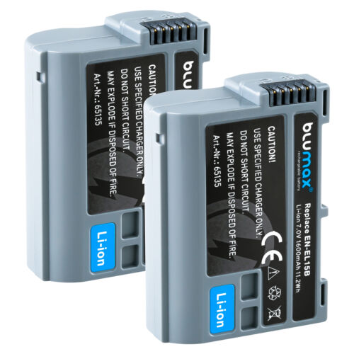 Batería 2x para Nikon en-el15b651351600mahd600 d800 d7000 d7500 1 v1//z6 z7