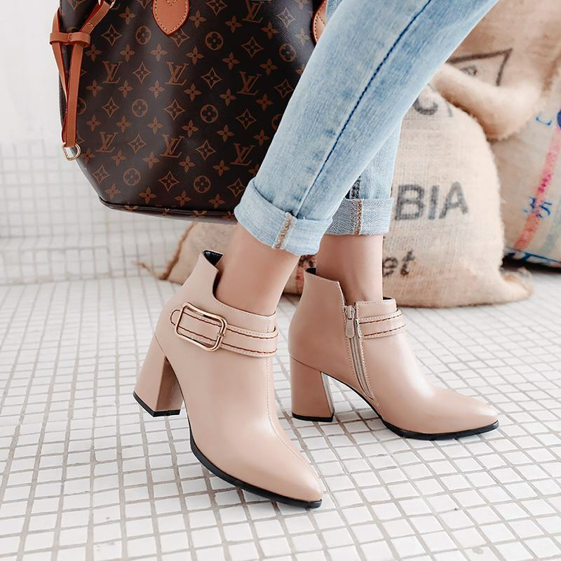 Ladies Block Heels Pointy Toe Buckle Strap Side Zip Ankle Boots Dating New shoes