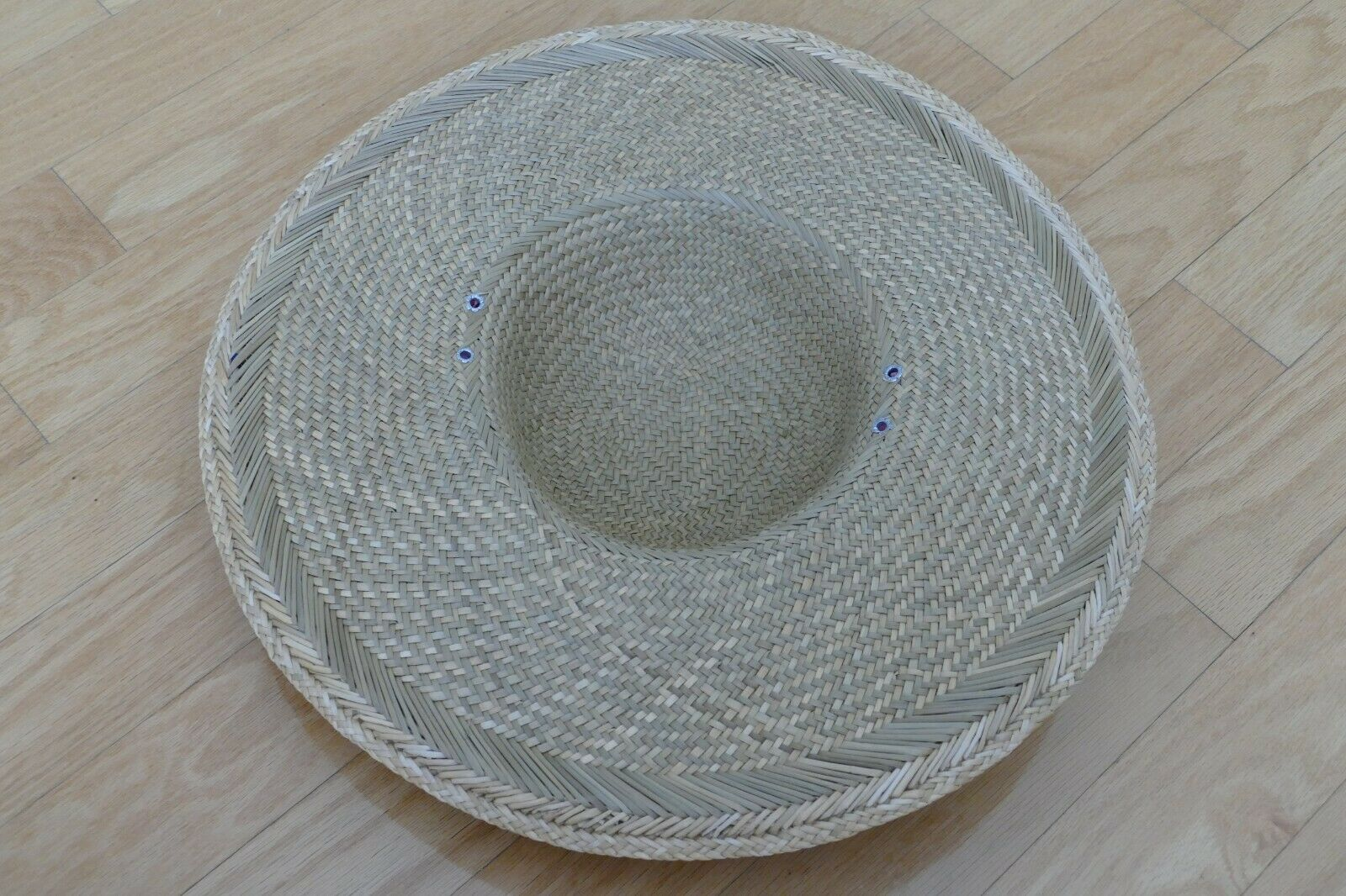Wide Brimmed Straw Hat with decorative flower acc… - image 2
