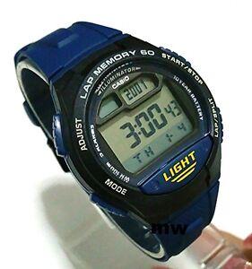 New-Casio-Men-039-s-W734-2AV-5-Alarms-Lap-memory-60-Digital-Sport-Resin-band-Watches