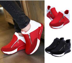 Women-039-s-Casual-Running-Sneakers-Zip-Wedge-Hidden-Heel-Sport-Shoes-Trainers