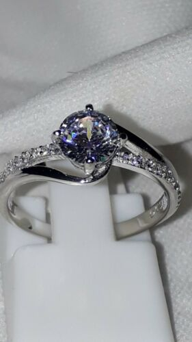 925 STERLING SILVER STIMULATED DIAMOND SOLITAIRE ENGAGEMENT RING SIZE 5 6 7 8 9