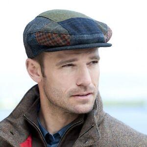 Image is loading Patchwork-Irish-Cap-Blue-Tones-Tweed-Flat-Cap- c2f4d6d6e67