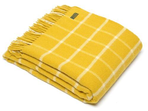 Windowpane Check 100/% Wool Bed Blanket Sofa Throw Picnic Travel Rug BRITISH MADE
