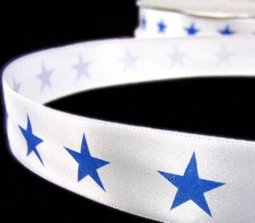 "5 Yards Patriotic Fourth of July Blue Stars Cowboys White Satin Ribbon 7//8/""W"