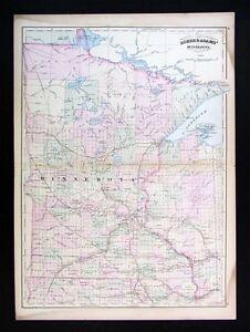 1872 Asher & Adams Map - Minnesota St. Paul Minneapolis ... on new hampshire united states map, minneapolis map, nevada united states map, wage statistics united states map,