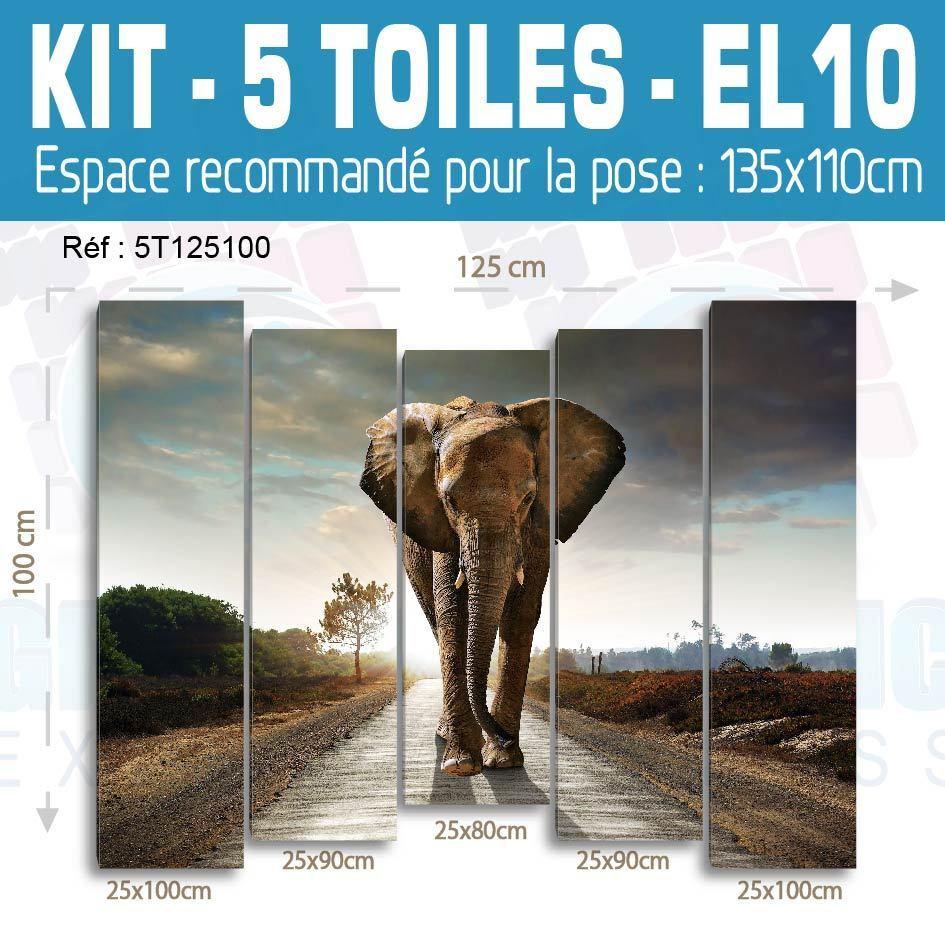 125x100cm- Kit 5 Lienzo Estampado Pizarra Deco - Elefante EL10-5T125100