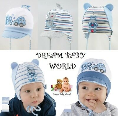 100/% Cotton TIE UP SUN hat Spring Summer BABY BOYS Infant KIDS 0-12 months HATS