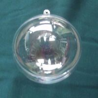 2 Clear Acrylic Fillable Christmas Ornaments 4 Round Craft Paint Decorate 100mm