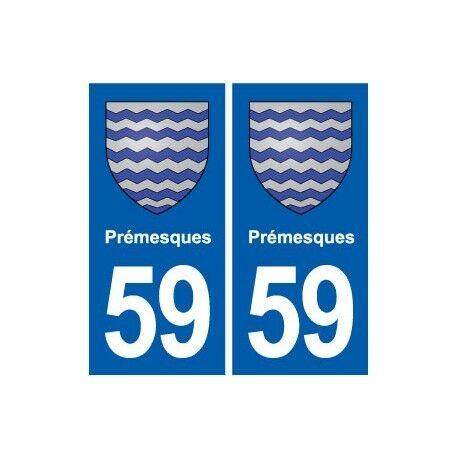 59 Prémesques blason autocollant plaque stickers ville -  Angles : droits