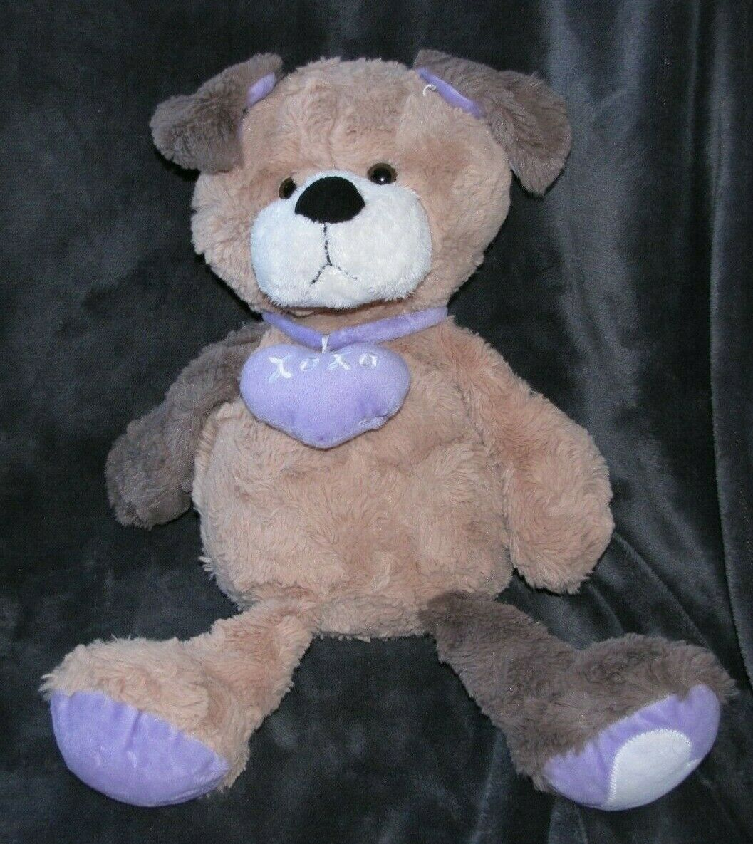 ANIMAL ADVENTURE 2014 braun Plush Stuffed PUPPY Dog Hearts lila XOXO 19