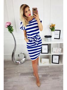 NEW-Holiday-Short-Sleeve-Bodycon-Midi-Dresses-Ladies-Summer-Striped-Dress-Sz-8