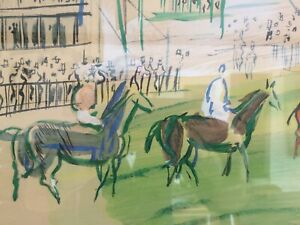 Raoul-Dufy-Lithograph-with-watercolor-Painting-Horse-Race-At-Epsom