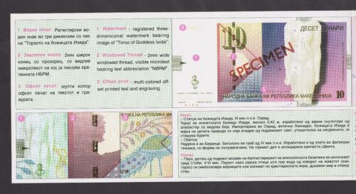 MACEDONIA 10 Denari 1996   Official BANK BROCHURE show details of this banknote