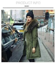 Parka Detachable racoon fur Nyctereutes procyon Hood Long  Down cotton jacket