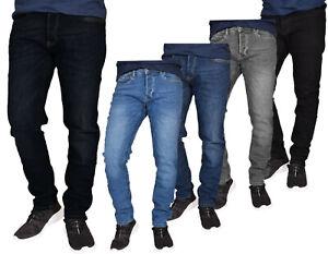 Mens-Straight-Leg-Denim-Jeans-Stretch-Slim-Fit-Pants-Trousers-Bottoms-All-Sizes