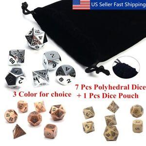 7Pcs-set-Antique-Metal-Polyhedral-Dice-w-Bag-DND-RPG-MTG-Role-Playing