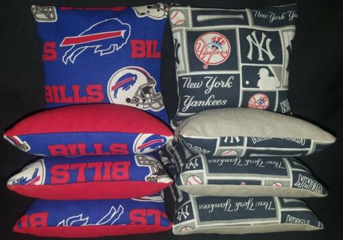 New York Yankees Buffalo Bills Set of 8 Cornhole Bean Bags FREE SHIPPING