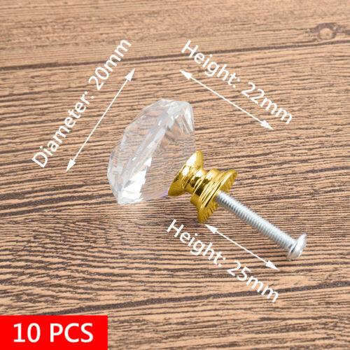 1 10x Armoire Tiroir Armoire Cuisine Tirer Poignée Bouton Cristal Verre 20mm