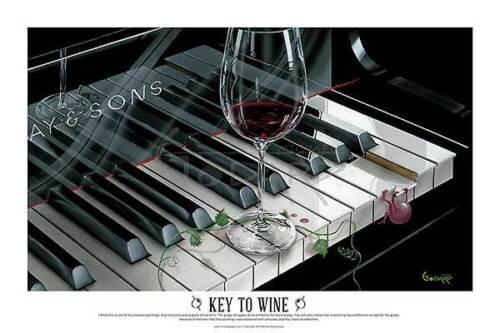 Michael Godard The Key to Wine Fantasy Wine Piano Music Funny Print Poster 24x36