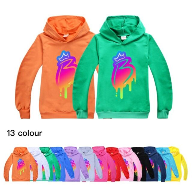 NEW Kids Royally B Print Long Sleeve Hoodie Pullover Hoody Jumper  Cotton Tops