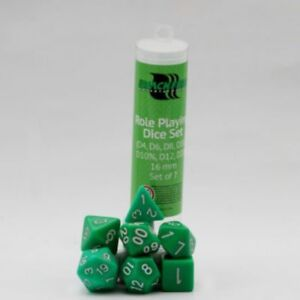 Blackfire-Role-Playing-Game-Cube-16mm-Green-7-Dice-Set-Cube-W4-W6-W8-W10