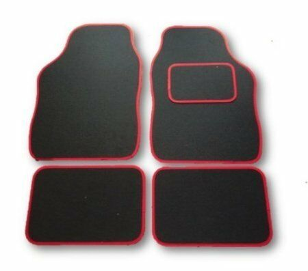 MINI CONVERTIBLE COUPE HATCHBACK UNIVERSAL CAR FLOOR MATS BLACK WITH RED TRIM