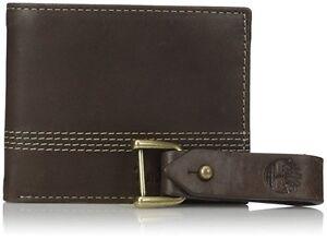 Timberland Men/'s Leather Slimfold Wallet Key Fob Gift Set Tan NP0367//04