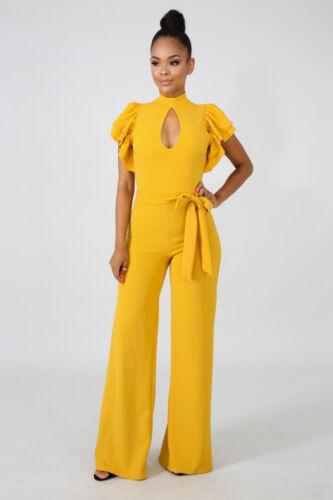 Mustard Yellow Ruffle Sleeve Jumpsuit