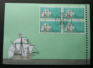 SJ-Portugal-Sailing-Ship-1993-ATM-Sailboat-Ship-Transport-frama-label-FDC