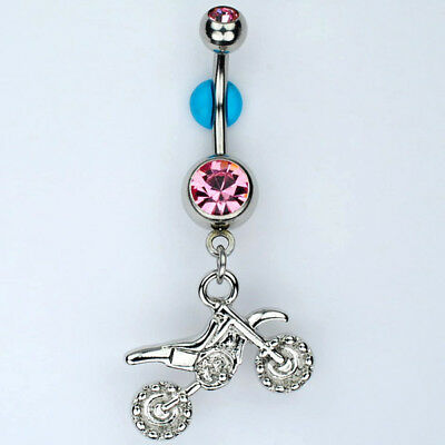 Steel Motorcycle Bike Non-Dangle Belly Button Navel Ring