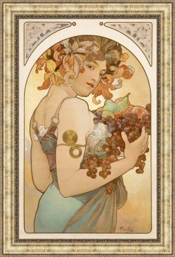 "V12-05 Alphonse Mucha Fruit Framed Canvas Giclee Print 27/""x40/"""