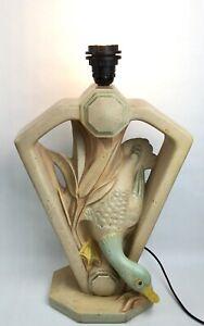 Vintage large stone duck canard ente eenddesk table lamp art deco design 1980's