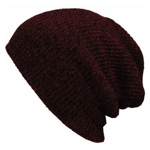Men Women Striped Baggy Slouchy Knit Beanie Loose Ski Hat Cap For Autumn Winter